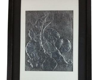Koi in Lotus Pond Metal Art in Frame