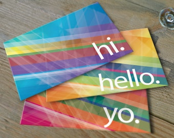 Graphic Greeting Notes, Assorted Set of 10 Cards, Lines, Just Say Hello