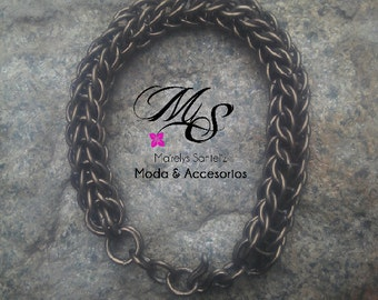 Bracelet Byzantine Chainmaille Silver Chain Chainmail Handcrafted Maille Round Men Aluminiun