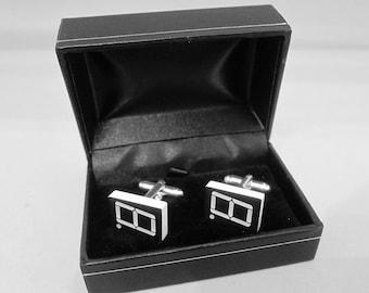 Electronic component steampunk cufflinks (7-Segment LED display)
