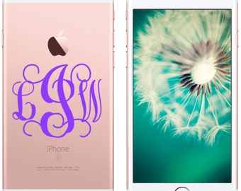 """FREE SHIPPING! - 2"""" Wide iPhone Cell Phone Decal Monogram 