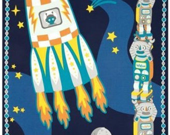 """Nursery Fabric: Atomic Bots Panel By Silvia Dekker - Rocket and stacked Robots fabric 100% cotton fabric by the PANEL 24""""x 44""""  (A197)"""