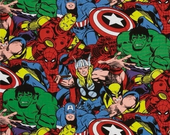 """Marvel Fabric: Avengers Comics - Characters Packed 100% cotton fabric by the yard 36""""x44"""" (SC95)"""