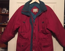 Vintage 1980's Burgundy and Teal Retro 80s 90s Ski Jacket Skiing Windbreaker Coat Jacket Sweater London Fog