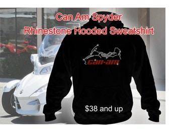 Can Am Spyder Rhinestone Hoodie Sweatshirt