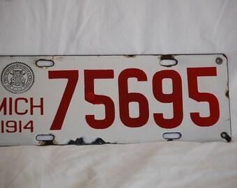 1914 Michigan License Plate