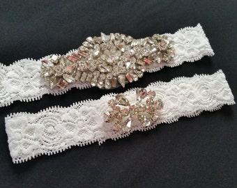 Wedding garter, Bridal Garter Set - Crystal Wedding Garter Set