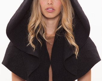 Cape with hood.Hooded cape.Felt cape.Wool capelet.Hoodie poncho.Shrug with hood.Hooded wrap.Hoodie black wrap.Hoodie wool wrap.Hooded wrap.