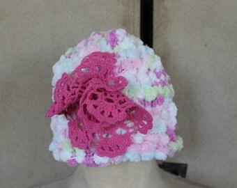 Baby Beannie,Pink, flower,Chenile,handmade beannie,