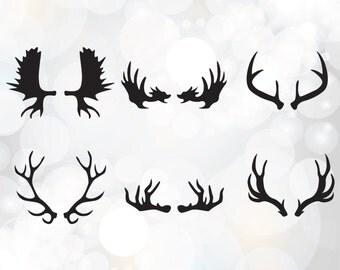 Deer Horn SVG Collection - Antler Clipart - SVG Files for Silhouette Cameo or Cricut - Deer Horns vector graphic - Deer Antler clipart