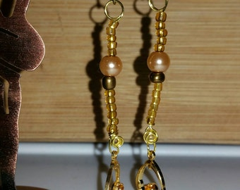 Handmade Goldenrod Seed Bead and Topaz Rhinestone Earrings