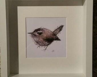 Framed jenny wren painting // jenny wren print // wren painting // wren illustration // bird illustration // wren drawing // bird gifts