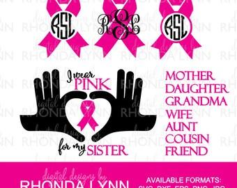 Breast Cancer SVG, dxf, eps, jpg, png vector cut file, I wear Pink SVG, Heart hand and Breast Cancer SVG, Breast Cancer Digital Download