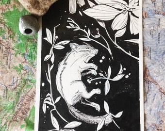 tiny gift ( original ink drawing )