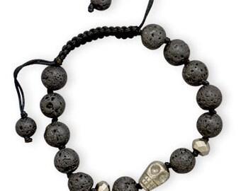 Adjustable Lava and Pyrite Bead Bracelet