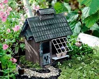 Miniature Dollhouse FAIRY GARDEN ~ Fairy Garden Birders Cottage  ~ NEW