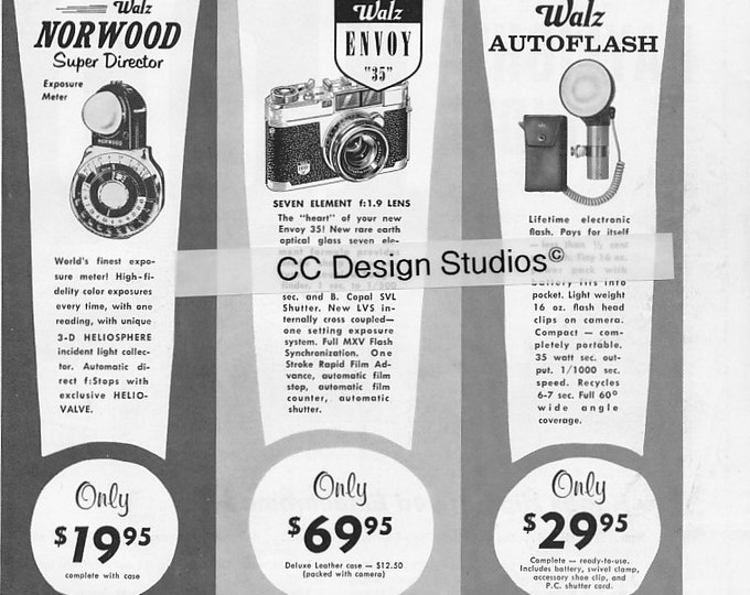 Vintage Walz Photography Magazine Ad 1960 - Collectible - Envoy 35mm Camera, Autoflash, Exposure Meter, Movie Meter and More - Wall Decor