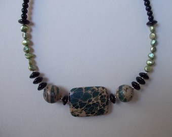 Aquaterra Freshwater Pearl and Onyx Necklace