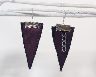 maroon faux leather earrings