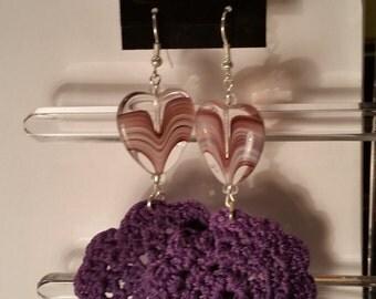 purple glass hearts crochet earrings