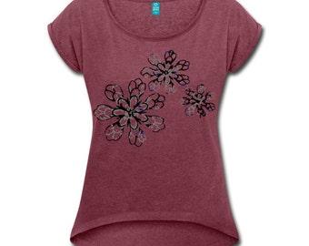Women t-shirt Flower Red