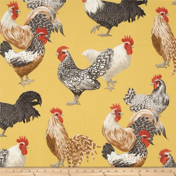 Drapery Fabric Yellow Rooster Fabric Upholstery Fabric
