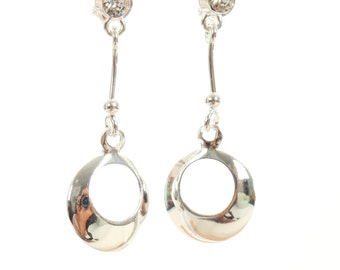 Sterling silver circle earrings with Cubic Zirconia stone,wedding,bridesmaid,925 sterling silver