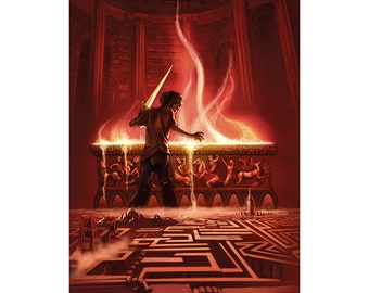 Percy Jackson signed print: Battle of the Labyrinth