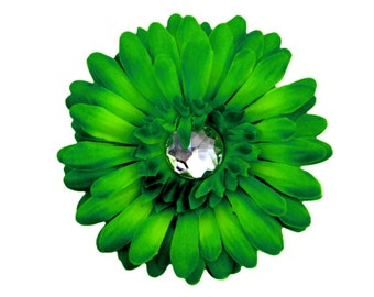 "Green Hair Clip, Baby Flower Clip, Girls Flower Clip, Green Gerber Daisy Flower Hair Clip, 4"", Photo Prop, Cake Smash Prop"