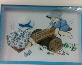 Children on a see-saw textiled drawing