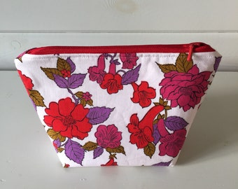 Make-up Pouch Made with Red and Purple Vintage Fabric