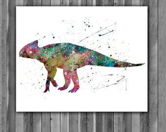 Archaeoceratops Dinosaur art print, Printable poster, watercolor painting, Watercolor Art, Wall Decor, Wall Art, instant download.