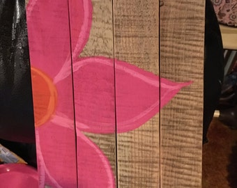 Pink and Orange Flower Wooden Wall Decor