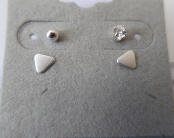 Triangle Stud Earring Set Sterling Silver 925