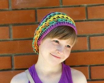 Crochet hat Accessories Hats caps Berets tams Berets Summer hat Girls accessories Colorful Girls hat Bright beret Hats for girls Slouch hats