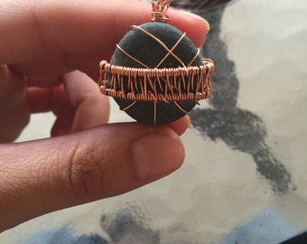 Planet rock copper wire wrapped pendant river rock