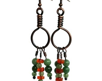 Green Aventurine & Carnelian Beaded Earrings | Boho Dangle Hoop Earrings | Rustic Jewelry | Copper Jewelry
