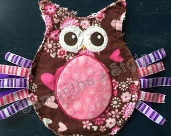 Owl Lovie, RTS, Owl Blanket, Ready to Ship, Tag Blanket, Tag Lovie, Rag Lovie, Personalized Baby Lovie, Personalized Baby-Birth-Info