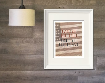 American Flag, Land of the Free, Home of the Brave Print, Instant Download, Digital Art Print, 4th of July #patriotic