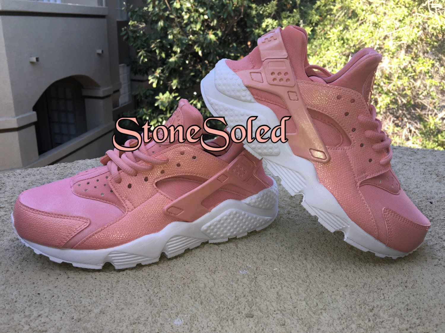 nike air huarache rose gold by stonesoled on etsy. Black Bedroom Furniture Sets. Home Design Ideas