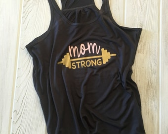 MOM STRONG -Flowy Racerback Tank