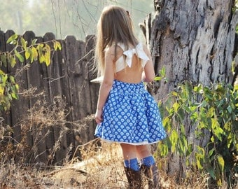 Girls dress - girls open back dress - girls country dress - pagaent dress - baby dress - ckc - poppy