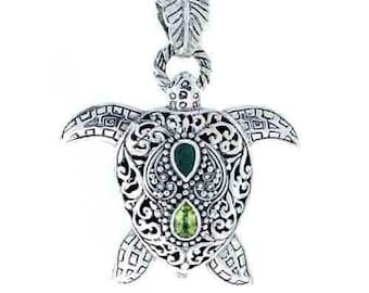 Emerald and Peridot Turtle Pendant