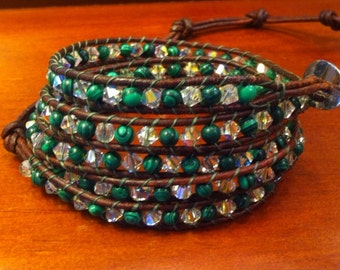 Malachite Crystal Wrap Bracelet