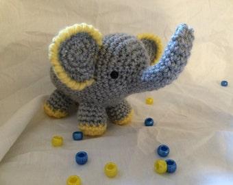 Small Grey & Yellow Elephant - Amigurumi Plushie