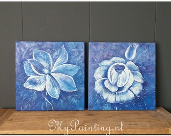 Modern abstract flowers painting blue white painting diptych on 3D frames