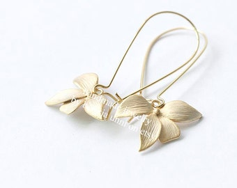 Orchid Earrings, Flower Earrings, Gold Orchid Earrings, Matte Gold Flower Long Dangle Earrings, Modern Everyday Earrings, Bridesmaid Gift