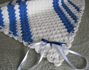 Crochet Blue and White  Baby Blanket