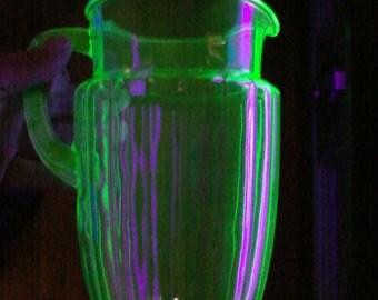 Vintage 1920's Green Uranium Glass Beer & Pretzel Set Fluted Pitcher