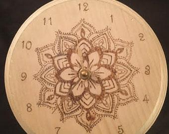 Wood Burned Clock